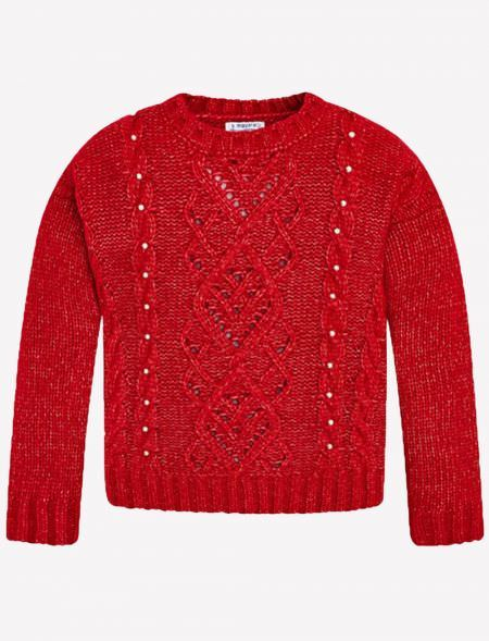 KNITTED JERSEY WITH PEARLS...