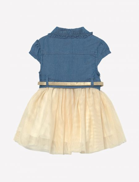 Combined denim dress with...