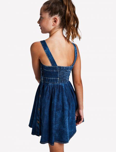 Ruched denim dress girl...