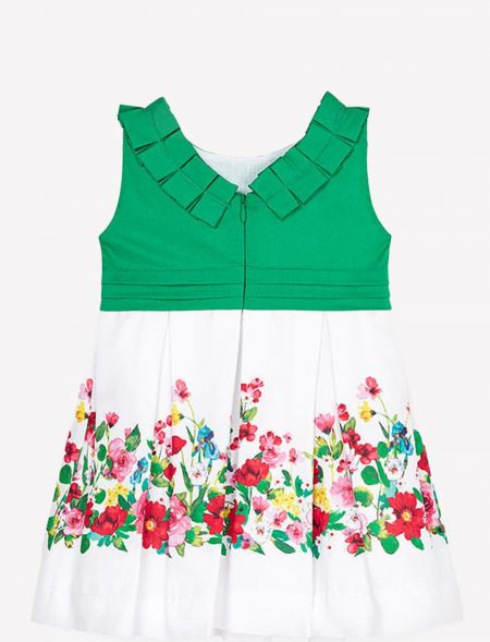 CONTRAST DRESS WITH FLOWERS...