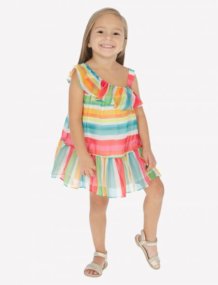 RUFFLED DRESS WITH STRIPPES...