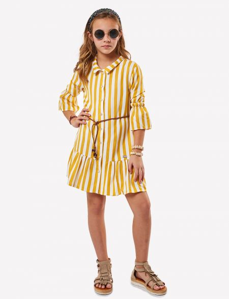 DRESS WITH STRIPES AND BELT...