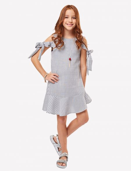 DRESS WITH STRIPES AND BOWS...