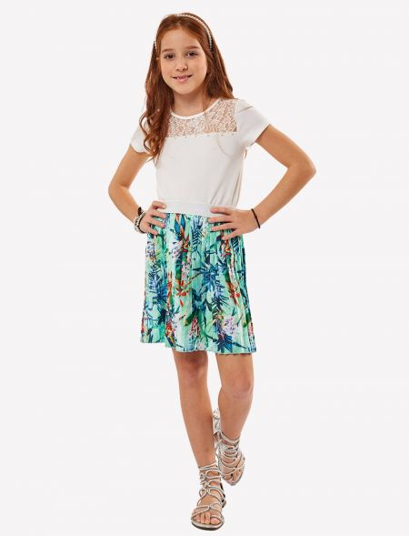 SET 2PCS GOFFER SKIRT WITH...