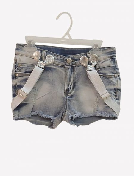 JEAN SHORTS WITH SUSPENDERS...