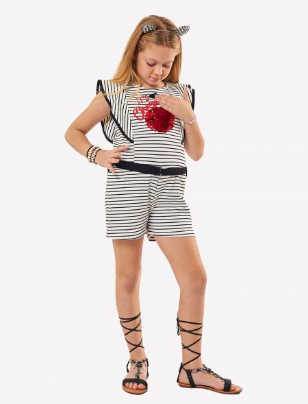 OVERALL SHORTS WITH STRIPES...