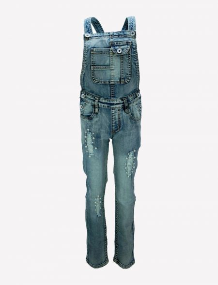 JEAN OVERALLS WITH RIPS AND...